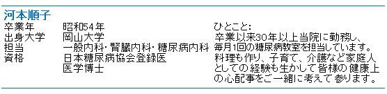 河本順子先生